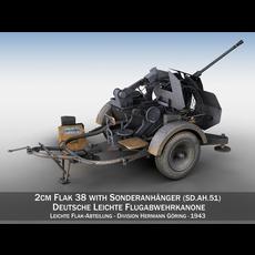 2cm Flak 38 with SD.AH 51 - Trailer - DHG 3D Model