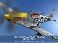 North American P-51D - Mustang - Detroit Miss 3D Model