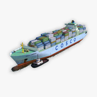 Cargo Ship COSCO and Tugboat 3D Model