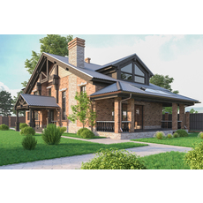 A Chalet house with a garage 3D Model