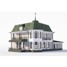 Classic house with Bay Windows and garage 3D Model
