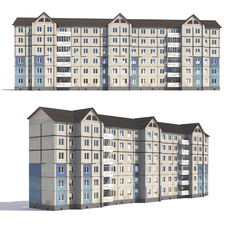 Prefabricated apartment building 3D Model