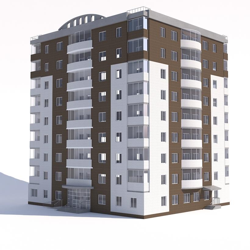 3d Model House Building Residential: Nine-storey Apartment Building 3D Model