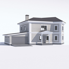Classic rustic house with a garage 3D Model