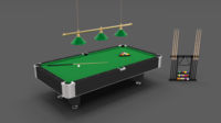 8 Ball Pool Table Setting 3D Model
