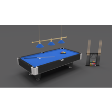 8 Ball Pool Table Setting Blue 3D Model