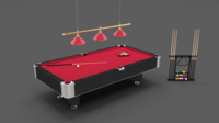 8 Ball Pool Table Setting Red 3D Model
