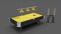 8 Ball Pool Table Setting Yellow 3D Model