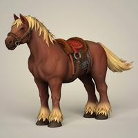 Muscular Horse with Saddle 3D Model