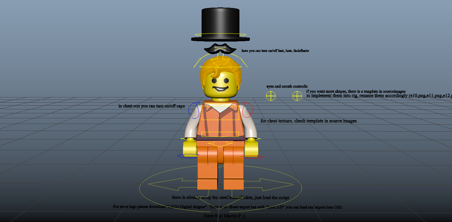 LEGO Man for Maya - Free Character Rigs Downloads for Maya