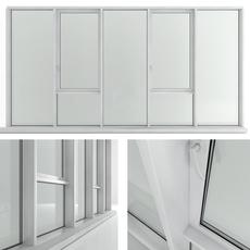 Panoramic window with sash window and radiator 3D Model