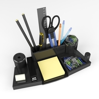Stationery set on the Desk. 3D Model