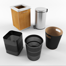 Set trash cans in the office 3D Model