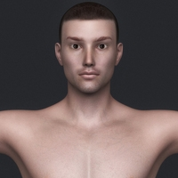 Realistic Young Man with Brown Hair and Black Underwear 3D Model
