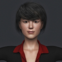 Realistic Beautiful Asian Woman with Black Hair, Black Suit and Black Leather Sandal 3D Model