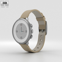 Pebble Time Round 14mm Band Silver With Stone Leather 3D Model