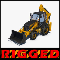 JCB Backhoe loader Rigged 3D Model