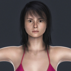 Realistic Young Blonde Girl with Black Hair and Pink Bikini Set 3D Model