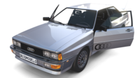 1981 Audi Coupe Quattro with interior Silver 3D Model