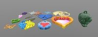 Stylish pendants 13 pieces 3D 3D Model