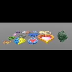 Stylish pendants 13 pieces 3D 3D Model