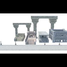 textured greek roman temples buildings architecture 3D Model