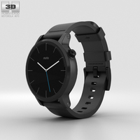 Motorola Moto 360 2nd Gen Men's 42mm Black Case Black Leather Band 3D Model