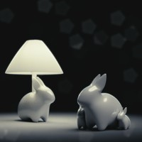 Porcelain Rabbit Table Lamp 3D Model