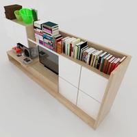 t.v console light wood for Sketchup 3D Model