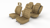 Generic Brown Leather Car Seats 3D Model