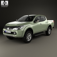 Mitsubishi Triton Double Cab with HQ interior 2015 3D Model
