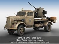 Opel Blitz with 2cm Flak 38 - DAK 3D Model