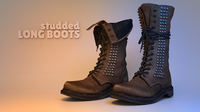Studded Long Boots 3D Model