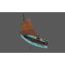 Wooden Fisher Boat 3D Model