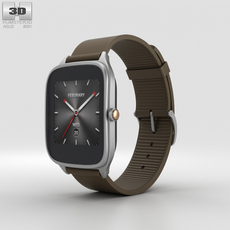 Asus Zenwatch 2 1.63-inch Silver Case Brown Rubber Band 3D Model