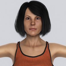 Beautiful Middle Age Woman with Black Hair, Orange Tank, Blue Jeans & Leather Sandal 3D Model