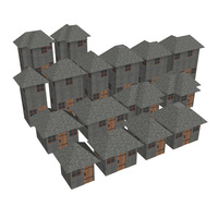 Modular Brick House Set 3D Model