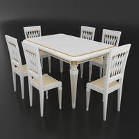 Dining set of classic Italian design consisting of a table and chairs 3D Model