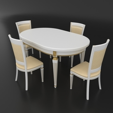 Dining set of classic Italian design consisting of a table and chairs Nike Avorio 3D Model