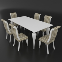 Dining set of classic Italian design consisting of a table and chairs Betamobili ottocento italiano 3D Model
