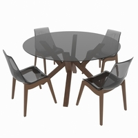 Dining set of classic Italian design consisting of a table and chairs Calligaris Mikado 3D Model