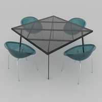 Dining set of classic Italian design consisting of a table Calligaris Frame and chairs Calligaris Bloom 3D Model