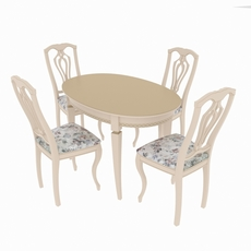 Dining set of classic design consisting of a table Alt-5-12 and chairs Sibarit-7 3D Model