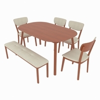 dining set consisting of a table and chairs and bench Kaori 3D Model