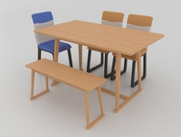 Dining set consisting of a table,bench and chairs Primavera 3D Model