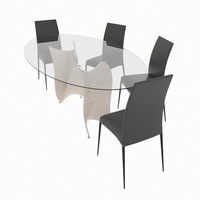 Dining set consisting of a table Wave and chairs Ralf 3D Model