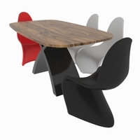 Dining set consisting of a table Tokyo and chairs Panton 3D Model