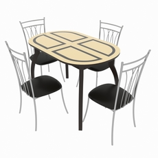 Dining set consisting of a table Milan Venge and chairs Premier 3D Model