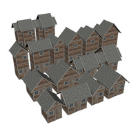 Modular Wood House Set 3D Model