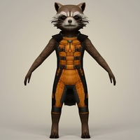 Rocket Raccoon Fantasy Character 3D Model